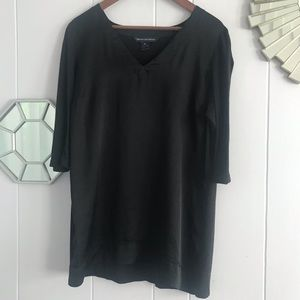 French Connection Black Faux Silky Longer Blouse